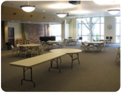 Fellowship Hall provides an informal gathering space for food and, well, fellowship!